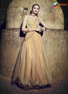 Add grace and charm to your appearance in this attractive beige net designer gown. Beautified with embroidered and resham work all synchronized nicely through the pattern and design of the attire. Pakistani Formal Dresses, Indian Dresses, Anarkali Gown, Beige Dresses, Got The Look, Gowns Online, Online Dress Shopping, Designer Gowns, Party Gowns