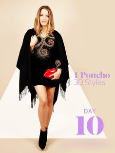 Unsere Stylight Challenge: 30 Tage Poncho tragen - aber immer anders kombiniert. Heute gönnt sich Vroni einen Tag ohneZorro-Umhangund nimmt den Ponchodafür abends mit zu einer Party.
