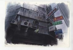 The film featured an industrial-looking cityscape filled with faceless skyscrapers, complex engineering and excessive advertising Anime Architecture: Backgrounds of Japan exhibition at the House of Illustration Sci Fi Anime, Anime Films, Anime Art, Architecture Background, Art And Architecture, Shell Drawing, Life Drawing, Classic Sci Fi, House Illustration