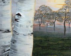 Birch tree, acrylic painting on 24''x36'' stretched canvas