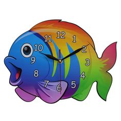 This listing is for one Home Decoration Children's Bedroom or Nursery MDF Fish Shaped Wall Clock. Price £14.99