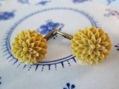 Chrysanthemum Flower Earrings  Yellow  Antique by FiveEtsyJewelry, $10.00