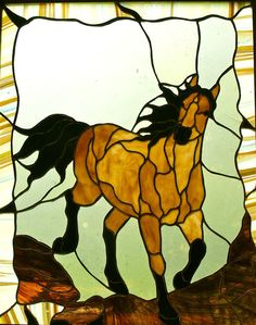 Horse Running Free Stained Glass panel featuring mouth-blown glass and a copper border on Etsy, $299.00