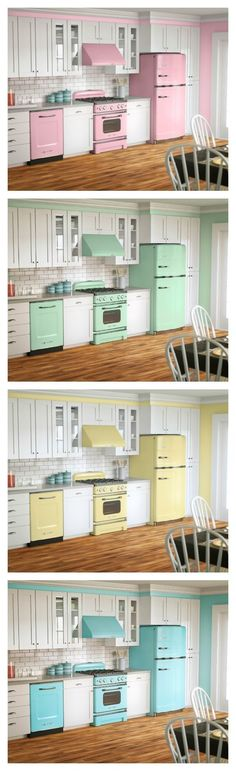Vintage appliances, full of color Using pastels in the kitchen is the