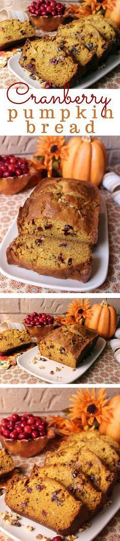 This pumpkin bread isn't overly sweet and has just the right amount of the fall seasonings to make this extra yummy. I love freshly grated nutmeg - this makes the bread really special. The cranberries and walnuts are a little extra bonus. It's just enough to make one spectacular loaf of bread. You're going to love this on a cool, crisp fall morning.