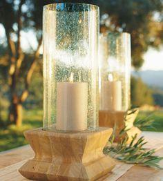 mango wood & recycled glass hurricanes