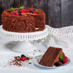 Dark chocolate, fresh fragrant espresso, almonds with a characteristic pungent odor . Delicious Cake Recipes, Yummy Cakes, Sweet Recipes, Chocolate Espresso, Cake Business, Sweet Pastries, Sweets Cake, No Cook Desserts, Bakery Cakes