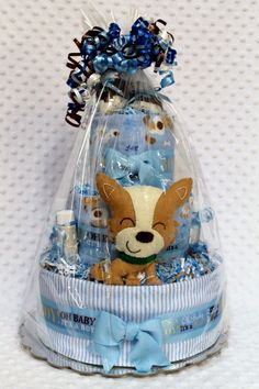 Baby Diaper Cakes Puppy Dog Shower Gift or by Diannasdiapercakes,