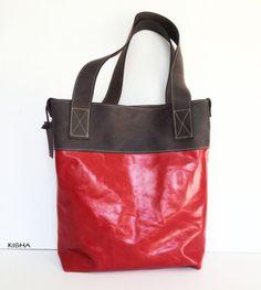 Women leather tote bag shoulder bag messenger by KishaDesigns