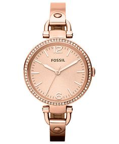 Fossil Watch, Women's Georgia Rose Gold-Tone Stainless Steel Bangle Bracelet 32mm ES3226