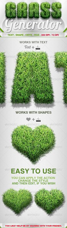 Grass Generator is an action (Photoshop), you can turn text and shapes in grass.