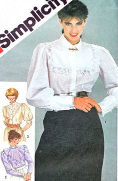 1980s Blouse Pattern Simplicity 5455 Victorian by paneenjerez, $9.00