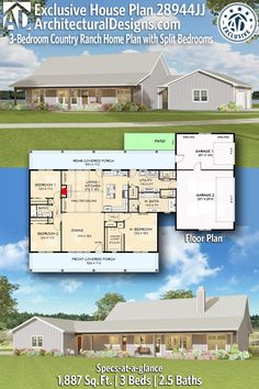 Exclusive Country Ranch Plan with Split Bedrooms - 28944JJ | Architectural Designs - House Plans