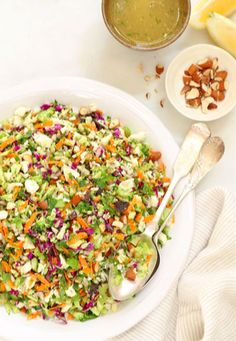 CRUNCHY DETOX SALAD Besides being crunchy, colorful and crazy fun to eat, this salad is loaded with veggies packed with fiber, nutrients and phytochemicals which stimulate enzymes in our liver (the organ responsible for detoxing). This salad will naturally kickstart the detox process by helping to eliminate toxins while leaving you full. It will help cleanse and rid ourselves of the bad, while also boosting our immune system. Yum!