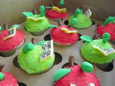 Apple cupcakes with worms.