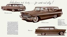 "1957 Plymouth station wagons: ""Handsome and Handy for Work and Play."""