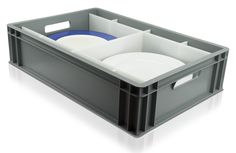 Dinner Plate Storage Box Our dinner plate storage box is solid sided euro container with removable chemical and heat resistant inserts. Caterbox's dinner plate storage boxes are higynic, stackable, durable and are available with drop-on lid to keep plates dast free. Designed to European standard dimensions, they can easily interstack with the Euro container range, maximising space and optimising palletisation. China Storage, Plate Storage, Storage Boxes, Maximize Space, Dinner Plates, Euro, Container, Range, Free