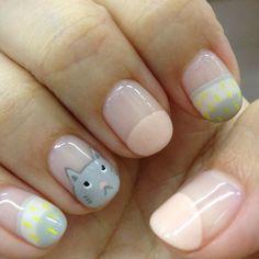 Cute kitty nail, nail art, pastels, totoro