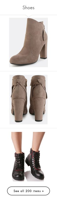 """""""Shoes"""" by monstaxikon ❤ liked on Polyvore featuring shoes, boots, ankle booties, thick heel boots, mid heel booties, taupe suede ankle booties, suede ankle booties, suede booties, taupe booties and chunky booties"""