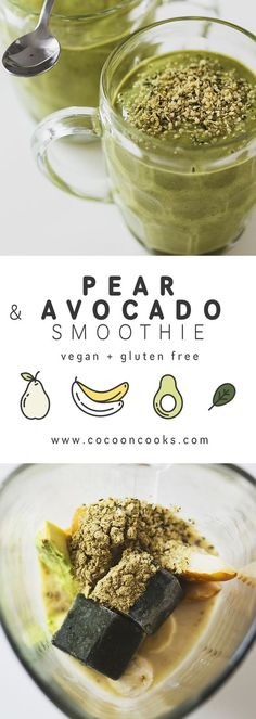 This Pear, Avocado & Frozen Greens smoothie is incredibly creamy and it's got a very mild green flavor, which makes it perfect for green smoothie beginners!