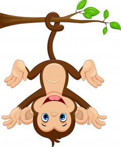 Cute monkey hanging on tree Premium Vect. Jungle Animals, Baby Animals, Cute Animals, Cartoon Monkey, Baby Cartoon, Baby Animal Drawings, Cute Drawings, Monkey Drawing, Cute Baby Monkey