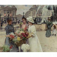 LOUIS MARIE DE SCHRYVER FRENCH, 1862-1942 A FLOWER SELLER AT THE PLACE DE LA CONCORDE
