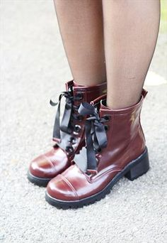 Oxblood Patent Ribbon laced boots £69.00