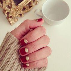 Half moon shellac manicure