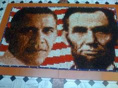 Obama and Lincoln made from cupcakes at the Smithsonian
