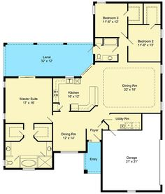 Traditional 3 bed house plan with master on the first floor and lanai – Best House Plans, Dream House Plans, Small House Plans, House Floor Plans, U Shaped House Plans, U Shaped Houses, The Plan, How To Plan, Home Design Floor Plans