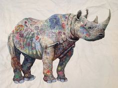 Kenyan-based artist Sophie Standing produces gorgeous collage of animals using colorful fabric.