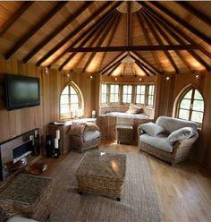 Inside a tree house.
