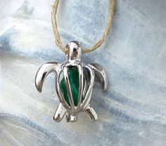 Irish Green Turtle Necklace Pendant Honu  Glass by WaveofLife, $15.00