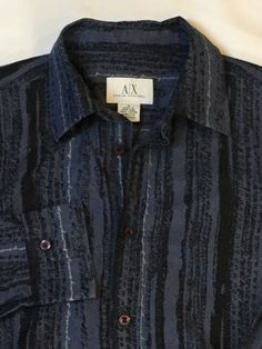 Men's Armani Exchange Blue And Black Patterned Shirt Cotton Small  | eBay