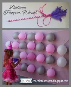 Balloon Popper Wand Game... hide prices inside the balloons and have the kids try one by one. some may say: try again