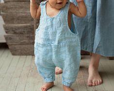 Linnen Jumpsuit, Blue Baby globaal, over het algemeen voor kinderen, kinderen kleding, gemaakt om te bestellen, linnen kleding Baby