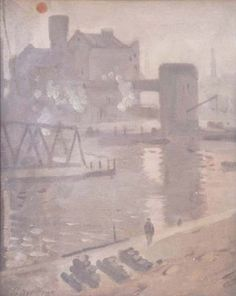 Pierre Adolphe Valette (French 1876–1942) [Impressionism] Manchester Ship Canal and Warehouses, 1908.