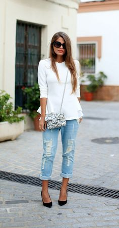 Distressed Boyfriend Jeans...Try this look with our Charlie Jeans! ShopGraceCooper.com