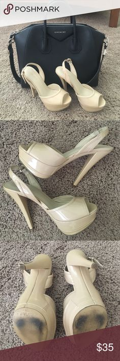 "Nude Peep Toe Slingbacks Nine West Corinner patent leather platform sandals in excellent condition. These were only worn once and the only visible flaw is a scuff on the leather on the back of the left shoe. Slightly cushioned insole. 5"" heel with 1.5"" platform. Nine West Shoes Heels"