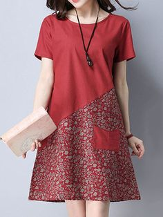 Floral Patchwork Pocket Short Sleeve O Neck Women Dresses