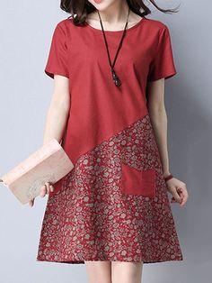 bef1e026c1e Floral Patchwork Pocket Short Sleeve O Neck Women Dresses