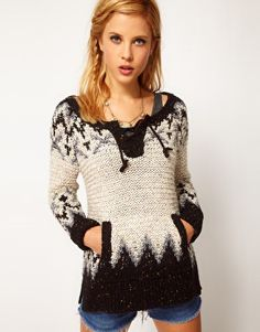 Free People | Free People Hippy Intarsia Sweater with Tie at ASOS