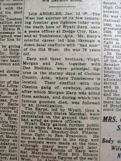 Wyatt Earp's Death Announcement