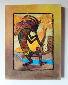 Kokopelli native american inspired art quilt on by JPGstudio2536