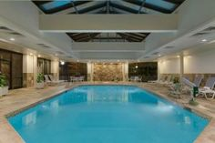 Perhaps a wedding dip? Indoor Pool at the Hilton Woodcliff Lake in Woodcliff Lake, New Jersey.