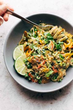 Thai Noodle Salad with Peanut Lime Dressing - veggies, chicken, brown rice noodles, and an easy homemade dressing. My favorite salad ever!   pinchofyum.com Peanut Noodles, Rice Noodles, Thai Noodles, Zucchini Noodles, Vegetarian Recipes, Cooking Recipes, Healthy Recipes, Healthy Meals, Stevia Recipes