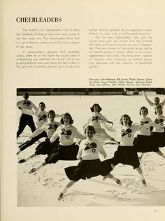 Athena yearbook, 1959. Ohio University cheerleaders perform a jump in the snow. :: Ohio University Archives