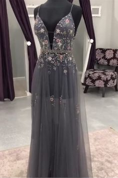 Modest grey long prom dresses with beading, unique deep v neck evening gowns, glamorous tulle beaded party dress - Dresses - Abendkleid Grey Prom Dress, Prom Dresses Two Piece, Tulle Prom Dress, Ball Dresses, Homecoming Dresses, Ball Gowns, Party Dress, Dress Long, Long Dresses
