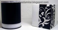 Porta Canetas com decoupage e scrap decor