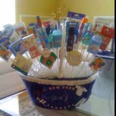 Bathroom basket for Yankees themed Bar Mitzvah.